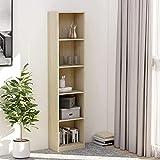 libreria, libreria scaffale scaffale espositore scaffale per libri mobile per libri a 5 ripiani rovere sonoma 40x24x175 cm truciolare