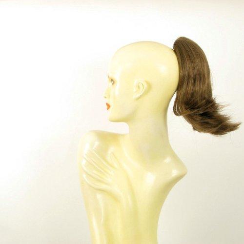Postiche queue de cheval extension femme châtain clair doré courte 28 cm ref 9 en 12