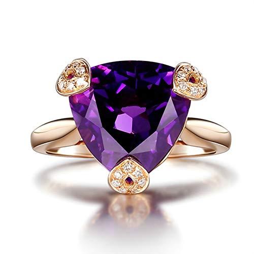 AueDsa Anillo Oro Rosa Anillos de Oro Rosa para Mujer 18 Quilates Triángulo Amatista Púrpura Blanca 6ct Anillo Talla 8