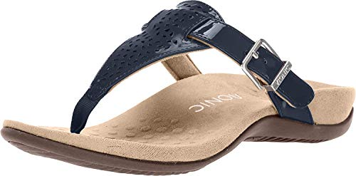 Vionic Women's Rest Tropez Toe-Post Sandal- Ladies Adjustable Buckle Dress Sandals with Concealed Orthotic Arch Support Navy Patent 7 Medium US