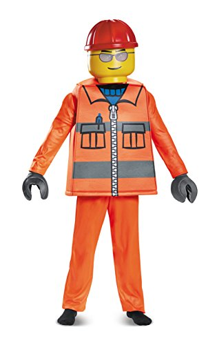 Disguise lego construction worker deluxe costume, orange, large (10-12)