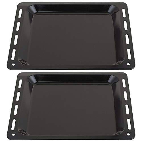 SPARES2GO Bandeja de horno esmaltada compatible con cocina Hotpoint (455 mm x 360 mm x 25 mm, 2 unidades)