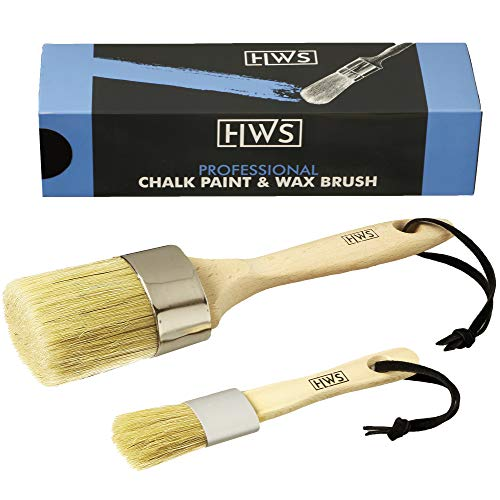 Professional Chalk Paint Brush and Wax Brush 2-Piece Set for...