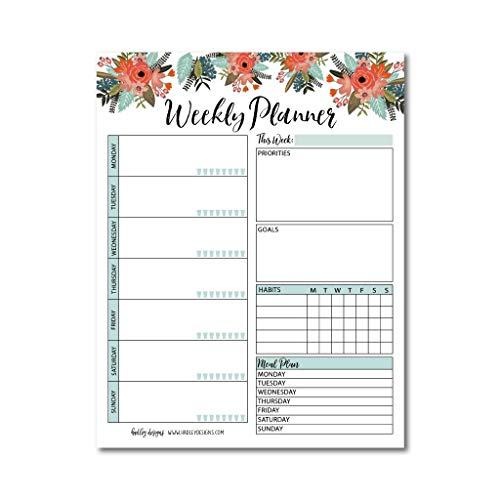 Floral Undated Weekly Family Calendar Planner Pad, Mom Monthly to Do List Desk Paper Notepad, Week Day Weekend Organizer, Personal Goal Habit Tracker, Kids School Work Productivity, 50 Tear Off Pages