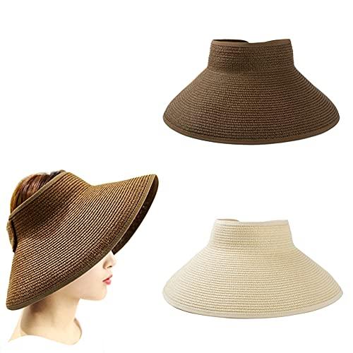 Sombrero Sol Para Mujer, 2 Pcs Sombrero De Playa Plegable, Sombrero Paja Superior Vacío, Sombrero Paja Superior Vacío Plegable, Sombrero Paja Bloqueador Uv, para Salidas Aire Libre, Playa, 2 Colores