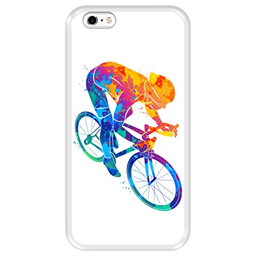 Hapdey Custodia per [ iPhone 6 Plus - 6S Plus ] Disegni [ Ciclista colorato Astratto ] Cover Guscio in Silicone Flessibile Transparente TPU