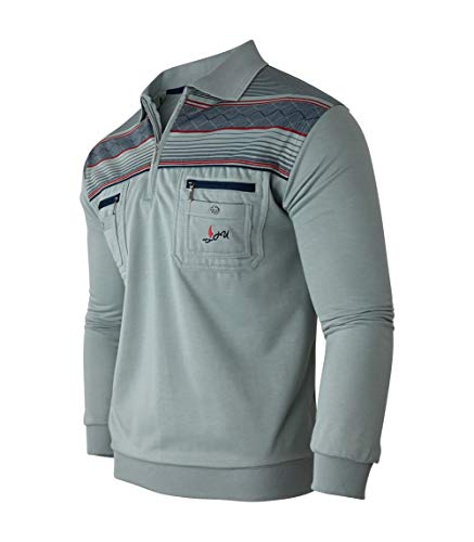 Humy Herren Langarm Sweatshirt, Pullover, Poloshirts Gestreifte Blousonshirts Baumwoll-Mix (M, Slategray)