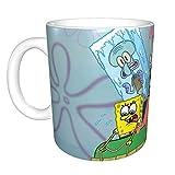 Spongebob - Tazza con manico a forma di cerchio per compleanni, Natale, regalo divertente