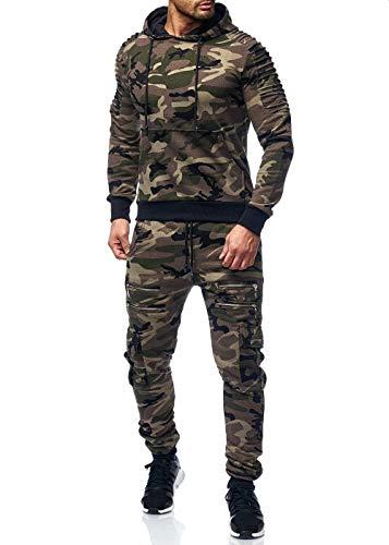 Herren Jogginganzug Camouflage Sportanzug Jogging Army Grün Camou S