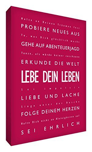 Little Helper LVLF1624-05G Feel Good Art Toile rigide pour décoration murale avec citations en allemand Thème : « Lebe dein Leben » Typographie moderne Rose 60 x 40 cm