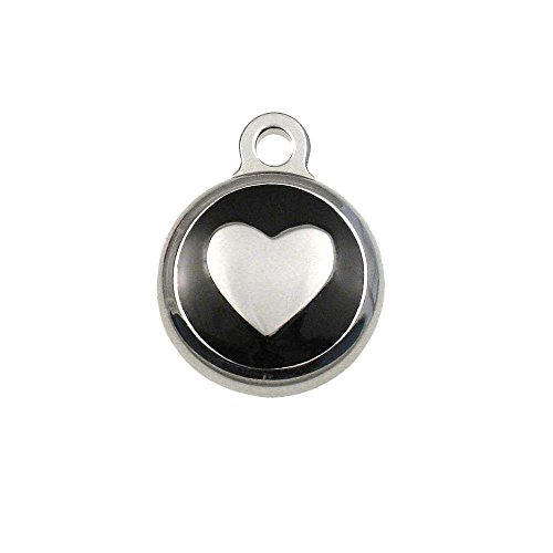 LuckyPet Pet ID Tag - Tiny Heart Jewelry Tag -Dog & Cat Tags for The Smallest Pets - Custom Engraved on Back Side - Color: Black