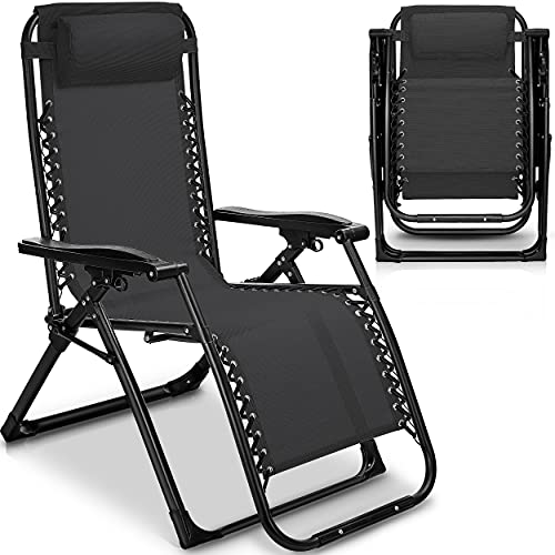tillvex Sonnenliege klappbar mit Kopfkissen   Gartenliege verstellbar mit Stahlrahmen   Liegestuhl mit Verstellbarer Rückenlehne und Armlehnen (Anthrazit)