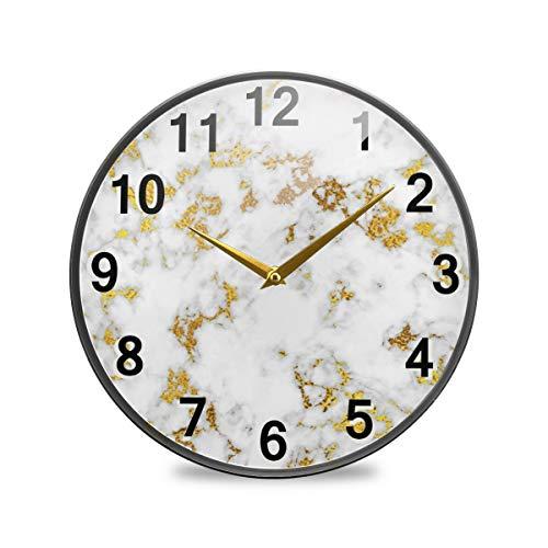 CaTaKu - Reloj de pared redondo de mármol sin tachuelas, reloj de escritorio de ónix de cuarzo decorativo con pilas, 24 cm, para sala de estudio, oficina, cocina
