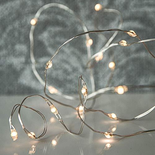arts LED Micro Ketten Lichterkette LED mit silbernen Draht - batteriebetrieben (AA) mit 6 Stunden Timer (30 LEDs)