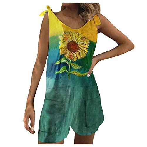 Mono corto para mujer, sin mangas, de verano, con cintura media, con tirantes ajustables, elegante, sin mangas, con botones, para la playa, verde, M