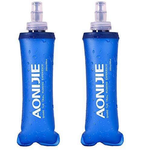 TRIWONDER TPU Faltbarer Trinkflaschen, Soft Flask, Wasserflasche BPA-Frei Sportflasche für Trinkrucksack Fahrrad Sport (250 ml - 2 Stücke)