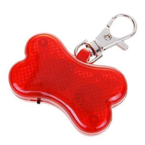 N-K pulabo Exquisit Schöne Neuheit Knochen blinkende LED-Licht Haustier Hund Sicherheitshalsband - rot tragbar und nützlich