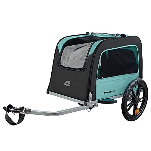 Retrospec Rover Hauler Pet Bike Trailer - Small & Medium Sized Dogs Bicycle Carrier - Foldable Frame with 16 Inch Wheels - Non-Slip Floor & Internal Leash - Blue Ridge, One Size