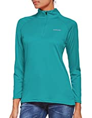 Ogeenier Dames shirt met lange mouwen UPF 50+ UV zonnebescherming, lange mouwen, hardloopshirt, sportshirt 1/4 rits, voor training, wandelen, sport