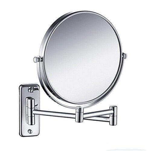 Wawoo 1407 15,2 cm Double face Support mural pivotant Miroir avec grossissement 3 x, réglable pliable extensible Chrome Finition miroir, double côtés Loupe Maquillage Miroir mural de rasage