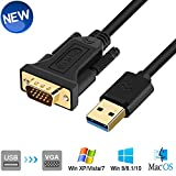 USB to VGA Adapter Cable 6.5FT Compatible with Mac OS Windows XP/Vista/10/8/7, USB 3.0 to VGA Male 1080P Monitor Display Video Adapter/Converter Cord. (6.5FT)