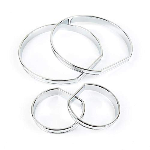 QianHaoQJu XW-YBB Ring, 4pcs Styling Armaturenbrett Anzeiger-Skala Ringe Fit for Lünette Trim Speedo AC/Tech Sport Fit for BMW E46 M3 Silber-Auto-Licht Ringe Dacia Sandero (Color : 4pcs a Set)