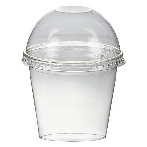 1-PACK Smoothiesbecher Dessertbecher + Domdeckel 250 ml Ø95mm, PET, glasklar, 50 Stück