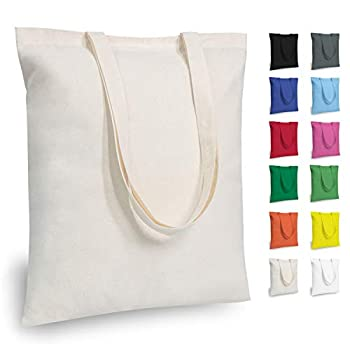 TOPDesign 5 | 12 | 24 | 48 Pack Economical Cotton Tote Bag Lightweight Medium Reusable Grocery Shopping Cloth Bags Suitable for DIY Advertising Promotion Gift Giveaway Activity  5-Pack