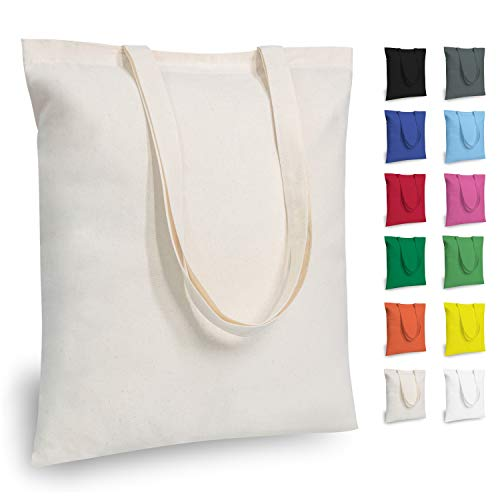 TOPDesign 5 | 12 | 24 | 48 Pack Economical Cotton Tote Bag, Lightweight Medium Reusable Grocery Shopping Cloth Bags, Suitable for DIY, Advertising, Promotion, Gift, Giveaway, Activity (5-Pack)