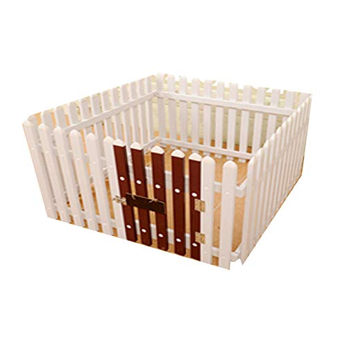 TWW Dog Fence Indoor Small And Medium-Sized Dog Kennel Dog Fence Isolation Fence Dog Cage Pet Fence Anti-Blocking Door for Cats And Dogs,Brown,93 * 62 cm