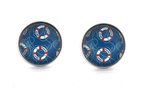 Rettungsring Muster Motiv Cabochon Ohrstecker Modeschmuck Ohrringe silber-farben 12mm see maritim ozean