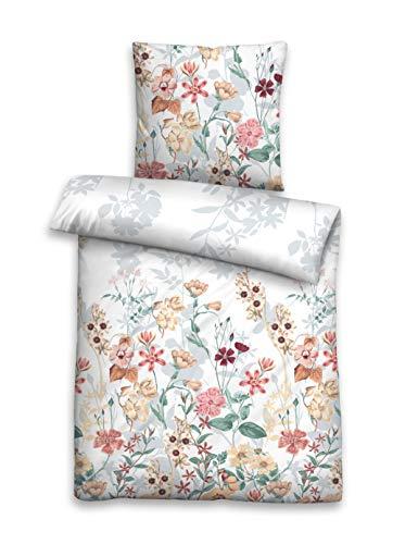 biberna 0026095 Bettwäsche Garnitur mit Kopfkissenbezug Baumwoll Soft-Seersucker 1x 240x220 cm + 2x 80x80 cm weiß