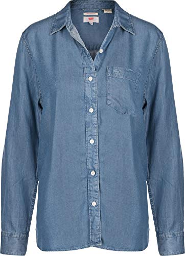 Levi's The Ultimate BF Shirt Blusa, Azul (Medium Authentic Wash (P) 0025), Small para Mujer