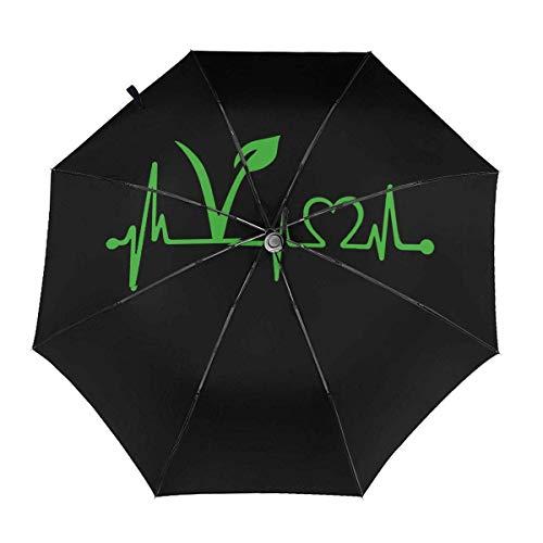 Trushop Automatischer Regenschirm Vegan Vegetarian Heartbeat Folding Umbrella Travel Fashion Automatic Umbrella