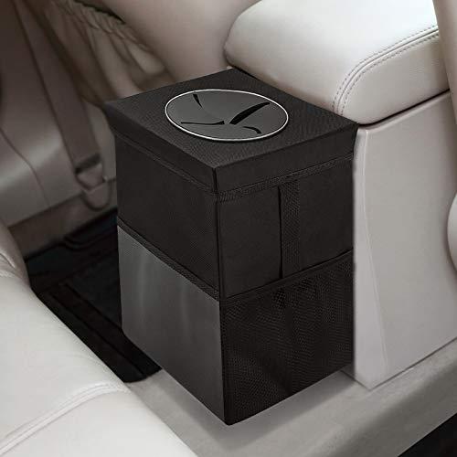 Cubo de basura para coche con tapa, bolsa de basura para colgar con bolsillos de almacenamiento, a prueba de fugas, organizador de coche plegable y portátil, resistente al agua, multiusos coche cubo