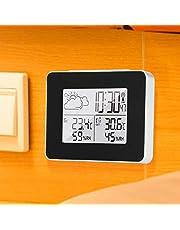 JIAYOUMIhome Wielofunkcyjny zegar z bezprzewodową prognozą LCD cyfrowa dekoracja stacja pogodowa cyfrowy budzik sypialnia dorośli kuchnia wewnątrz zewnętrzny czujnik bez baterii