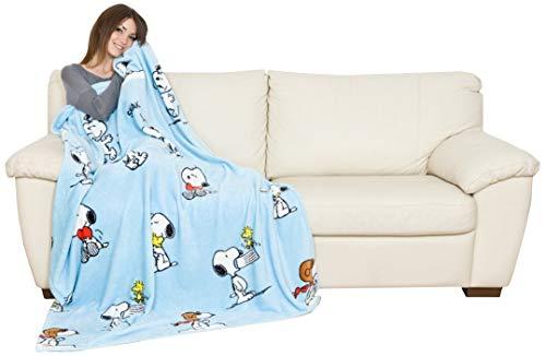 Kanguru Decke 130x170 cm Ultra Soft Kuscheldecke Sofadecke Fernsehdecke Wohndecke Snoopy Blau