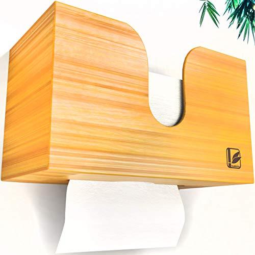 Bamboovia Papierhandtuchspender aus Bambus zur Wandbefestigung oder stehend für den Tisch | Handtuchspender Papierspender Papiertuchspender passend für C/V-Falz Papierhandtücher- Einfache Installation