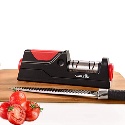 Warsun Electric Knife Sharpener, Knife Sharpening, Kitchen Professional Tool for Chef Knife, for Straight and Flat Knives, Black(Upgraded),not for Ceramic, Serrated Knives