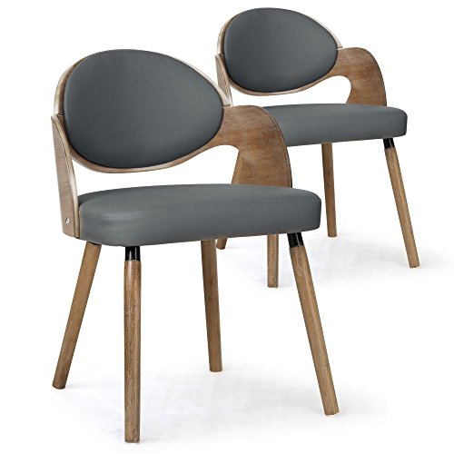 Menzzo Estel sillas, sintética (P.U.), Madera/Gris, 50,5