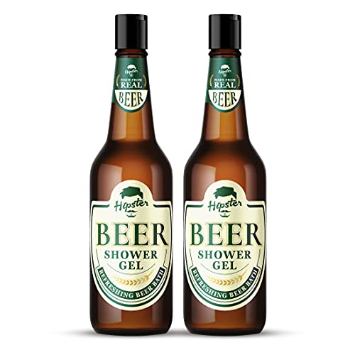 Hipster Beer Shower Gel Body Wash 250ml   Pack Of 2   Refreshing Beer Bath   No Alcohol & Paraben Free   Green Tea, Moringa, Papaya, Grape Seed Extracts   Made In India