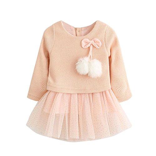 Kobay Kleinkind Baby Kind Mädchen Lange Ärmel gestrickt Bow Newborn Tutu Prinzessin Kleid 0-24M (70/0-6 Monat, Rosa)