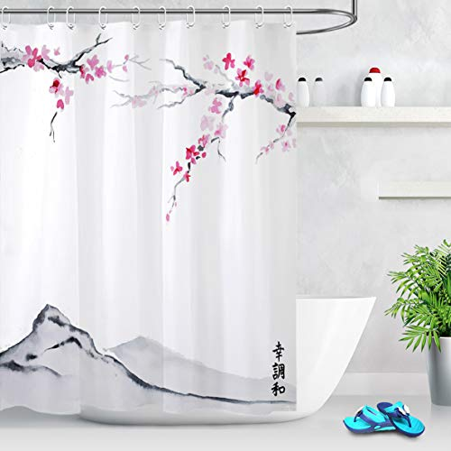 LB Duschvorhang Rosen-rote Blume 180x200cm Baum,Berg,japanische Malerei Bad Vorhang mit Haken Extra Lang Polyester Wasserdicht Antischimmel Badezimmer Gardinen