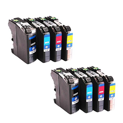 LC1240 - Cartuchos de tinta de repuesto para impresora Brother MFC-J5910DW J6710DW J6510DW J6910DW, cartucho de impresora de inyección de tinta de alto rendimiento, color negro y color (4 paquetes)