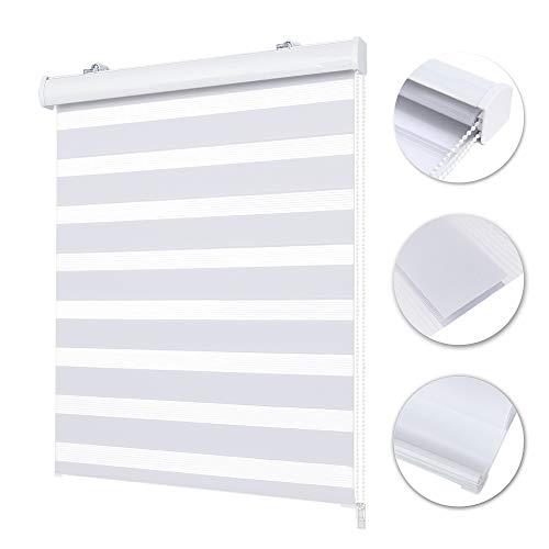 Allesin Doppelrollo mit Kassette, 65 x 160 cm Weiß (BxH), Klemmfix Rollos für Fenster ohne Bohren & zum Bohren, Kassettenrollo Klemmrollo Duo Rollo mit Blende, Sichtschutz und Sonnenschutz