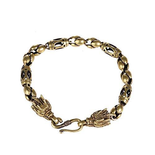 LISAQ Retro Cold Wind Bronze Armband Europäische und amerikanische Männer und Frauen Trendy Cool Domineering Leading Bracelet Einfaches Hip-Hop-Zubehör