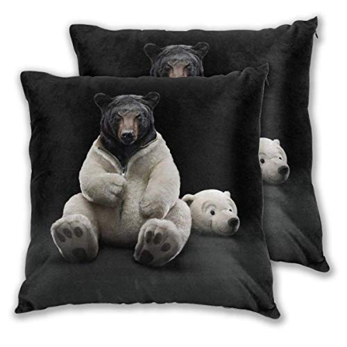 Throw Pillow Cover Cushion Cover Pillow Cases Decorative Linen Funny Bear Dress Up for Home Bed Decor Pillowcase,45x45CM
