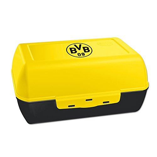 Borussia Dortmund Unisex Bvb-brotdose Brotdose mit Logo, Schwarz/gelb, 17 x 12 x 6 cm