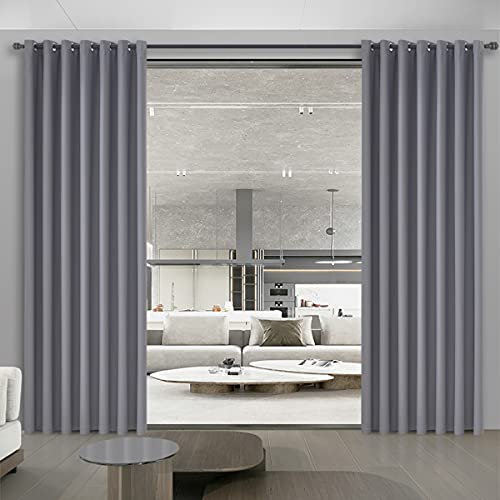 Room Divider Curtains Grey Privacy Curtain Multiuse Wide Blackout Curtains for Living Room Share Bedroom Sliding Glass Door Light Block Noise Reduction 8.5ft Wide x 7ft Tall Long, 1 Panel