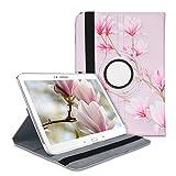 kwmobile Funda Compatible con Samsung Galaxy Tab 3 10.1 P5200/P5210 - Carcasa de Cuero sintético para Tablet Magnolias Rosa Claro/Blanco/Rosa Palo